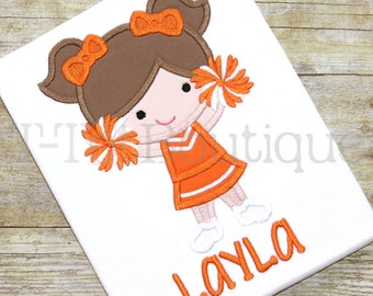 SALE - Cheerleader Girl Embroidered Shirt or Bodysuit - Your Favorite Team's Colors - FREE PERSONALIZATION
