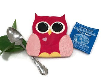 Owl Spoon Rest / Jewelry Dish - Pink and Red - Ready to Ship