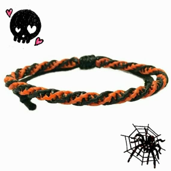 Black Orange Wax Cotton Halloween Wristband