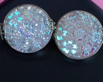 Czech Glass Button Clip On Earrings