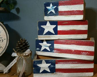 Rustic Wood Patriotic Flag Box - Hand Made Boxes - Flag - Fourth of July - Wood Display Box