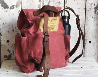 Waxed Canvas Backpack Little Rogue in Radish, Rucksack, Monogram Backpack, Woman Backpack Purse, Mini Backpack, Wax Canvas Bag, Bike Bag,