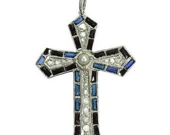 ON SALE Cross in Silver with Diamonds, Sapphires and Pearl c.1920 Art Deco Jewelry
