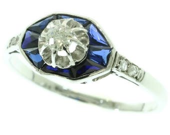 Blue sapphire diamond ring Art Deco engagement ring 18k white gold platinum center old European cut diamond .15ct rose cut diamonds French