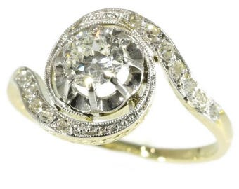Swirl diamond engagement ring 18k yellow gold center old European cut diamond .45ct brilliant cut diamonds .13ct vintage ring