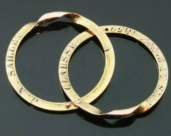 Antique rose gold wedding ring 18k double ring secret place engravings Victorian ring