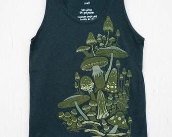 Silk-Screened Mushrooms Tank Top