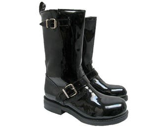 Womens Black Patent Leather Engineer Boots With Steel Toes Vintage Muro Ladies Motorcycle Rider Boots Will Fit  Womens US Size 6 Biker Boots