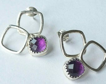 Sterling silver handnade Amethyst earrings, hallmarked in Edinburgh