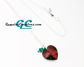 Apple Heart Necklace - Sterling Silver Chain, Red Swarovski Crystal Pendant, Drop