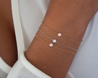 Diamond Bracelet, Delicate Diamond Bracelet with gold chain, solitaire diamond bracelet