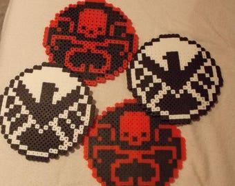 Set of 4 Coasters - Agents of Shield & Hydra Motifs