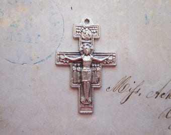 crucifix charm - San Damiano ASSISI cross - 1.5 inches, silver finish cross charm, religious charm