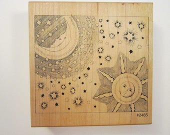 vintage rubber stamp - Comotion SUN MOON and STARS rubber stamp - 2465
