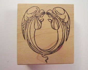 rubber stamp - facing ANGELS - two angels rubber stamp - angel circle - 432-4E