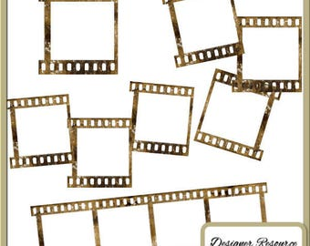 INSTANT DOWNLOAD Digital Filmstrips Aged - Vintage, Heritage, Photography,