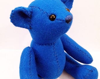 ON SALE Teddy bear felt plushie stuffed animal- choose your color!