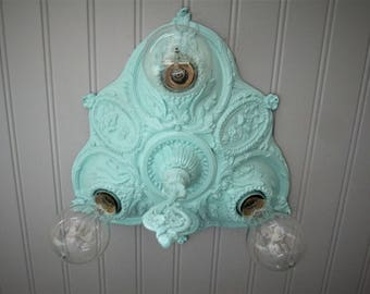 "Vintage Antique Flush Mount Ceiling Light  Celadon Green Art Deco Light  Ceiling Light Farmhouse Decor Three Light 11"" Diameter Sea Foam"