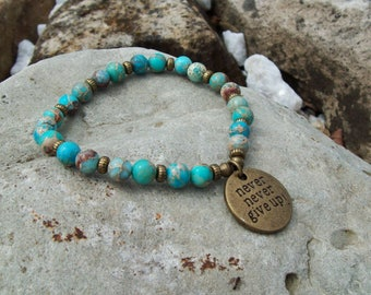 Never Never Give Up - Mantra Stretch Bracelet in Turquoise Blue Magnesite Gemstone with Antiqued Brass Charm