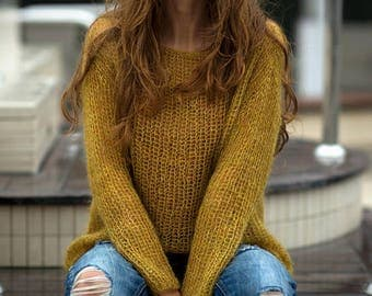 Mustard Boho Style Mohair Sweater Light Knit Top