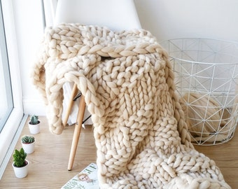 DIY Knit Kit. Extreme Knit Blanket. Throw. Merino Wool Blanket