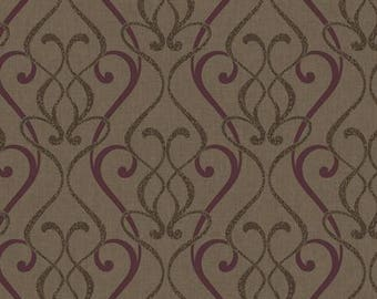 RC3710 Red Brown Leopard Scroll Contemporary Damask Wallpaper