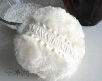 Ivory Powder Puff - soft creamy powderpuff - creme plush pouf - gift box option - by Bonny Bubbles
