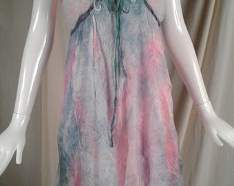 Silk Slip Dress Cornflower Art to Wear Pastel Garden Inspired Dream Vision Hand Dyed
