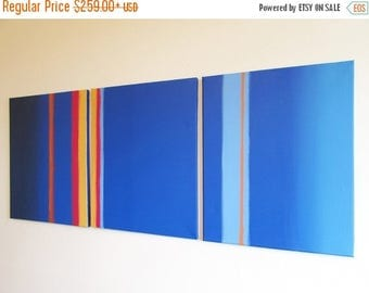 """extra large wall art  triptych huge triptych hanging """"Linear Blue"""" oversized art huge canvas art 3 panel three panel wall decor triptyque"""