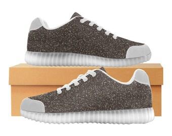 Black Glitter LED Light Up Shoes | Kids & Womens Sizes | High Stretch Upper | EVA Mesh Fabric Insole | 7 Colors | Bold Street Artist Design