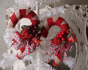 candy cane ornaments Large burlap fabric Large glitter candy canes with vintage plastic bells Country Cottage Chic Christmas home decor