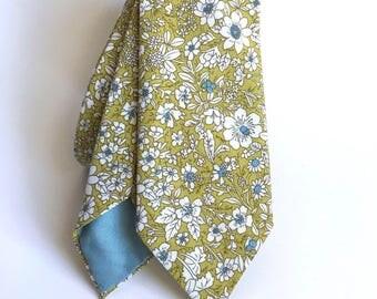 Floral ties - Green Ties - Fall floral ties - Skinny ties - Groomsmen gift - Liberty of London Ties - Chartreuse ties - boyfriend gift