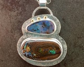 RESERVED for Mariagina.  25% Off Koroit Opal  Cabochon Sterling Silver 14kt Gold Metalwork Necklace Pendant