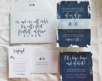 Alicia Watercolor Splash Wedding Invitation Suite with Vellum Band -  Dust + Navy Blue with White (customizable)