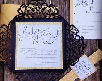 Shimmering Black and Gold Glitter Laser Cut Lace Wedding Invitation - *Sample* with belly band and tag RSVP Card Shower Invitation