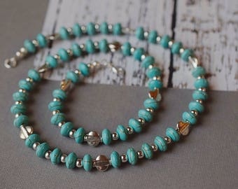 Bohemian Turquoise Necklace Beaded Green Stone Necklace Boho Tribal Silver & Turquoise Howlite Necklace Gemstone Necklace Green Necklace