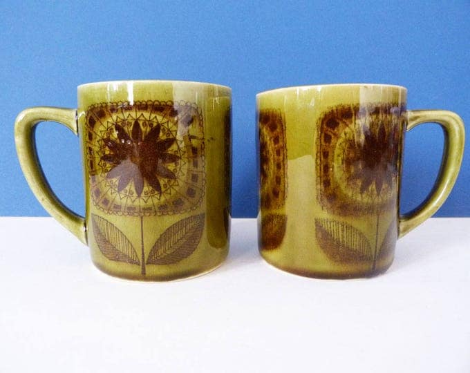 1970's flower power mugs - from Japan