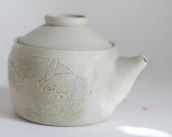 Japanese Snake and evil tattoo teapot - stoneware teapot