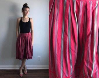 Vintage Kenzo Red Striped Skirt, Kenzo, 1960s Skirt, Cotton Skirt, Country Chic Skirt, Cottage Chic Skirt, Casual Skirt, Vintage Skirt