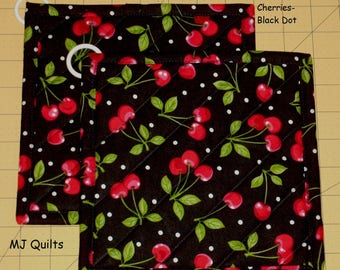 """Pick a Print-Set of 2 (8"""") Apples-Cherries-Quilted-Handmade-Insulated-Hot Pads-Pot Holders-MJ Quilts-Made in USA"""