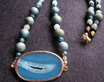 Agate druzy necklace | blue | pendant | lapis lazuli | gold | slice  | beaded | statement | crystal