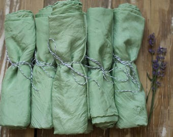 Soft green naturally dyed playsilk