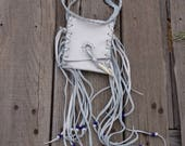 Off white leather neck pouch with fringe and antler tip , Fringed medicine bag , Off white leather amulet bag , Ready to ship