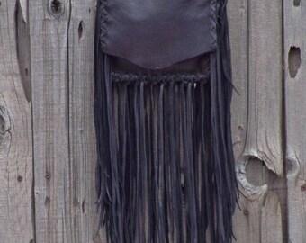 ON SALE Small black bag with fringe , Fringed crossbody handbag , Small black purse with fringe