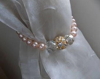 PAIR OF Swarovski tiebacks  blush glass pearls and rhinestone rondelles, wedding decorations