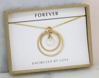Gift for daughter, moonstone necklace gold, June birthstone necklace, gift for wife, gold infinity necklace - Celeste