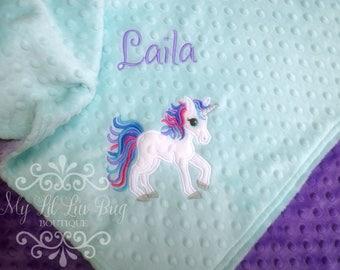 Personalized Baby Blanket Unicorn - Unicorn baby blanket - blanket with name - 30x35 stroller blanket - Unicorn minky blanket - kids blanket