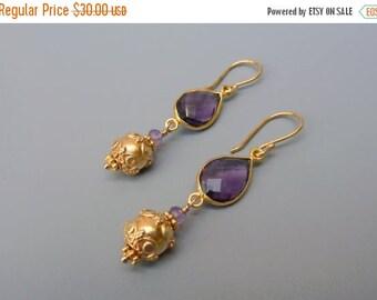 On Sale Amethyst Earrings, Purple Earrings, Amethyst Gold Earrings, Birthstone Earrings, Amethyst Teardrop Earrings, February Birthstone Gif