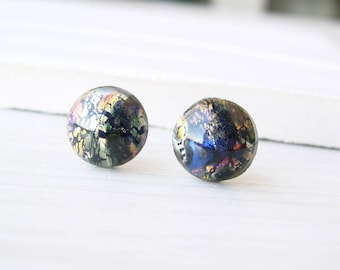 Galaxy Stud Earrings - Multicolor, Gold Foil, Navy Blue, Yellow, Nickel Free Titanium Posts, Pink, Orange, Glass, Pink
