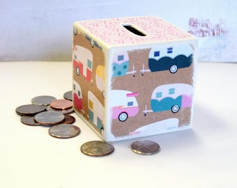 Camping In Style Wood Bank / Kids Piggy Bank / Wooden Bank / Coin Box / Money Box / Wood Coin Bank / Camper / Children / Room Decor